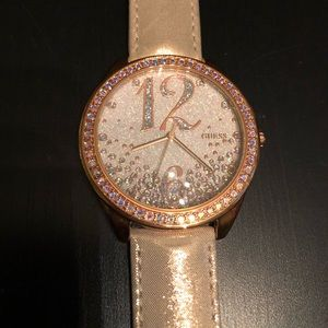 Guess Metallic Rose Gold Leather Watch